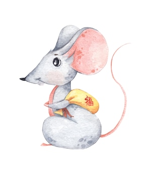 Little mouse with small yellow bag, zodiac symbol of new year. chinese translate good luck. watercolor illustration.