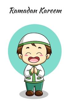 Little muslim boy, ramadan kareem cartoon illustration Premium Vector