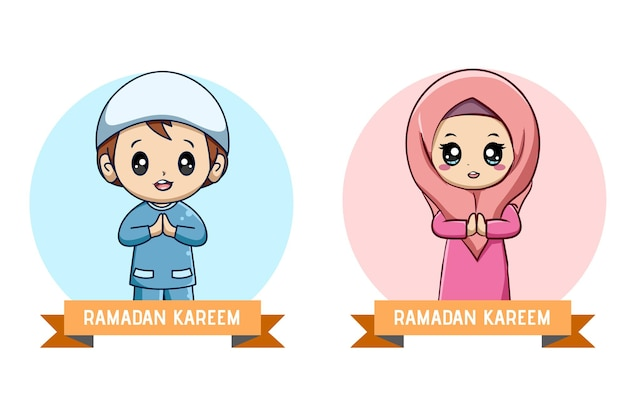 Little muslim girl and boy, ramadan kareem cartoon illustration