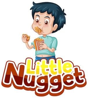 Little nugget logo design del testo con un ragazzo che mangia crocchette di pollo