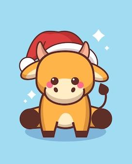 산타 모자에 작은 황소 행복 한 중국 새 해 2021 인사말 카드 귀여운 암소 마스코트 만화 캐릭터 전체 길이 벡터 일러스트 레이 션