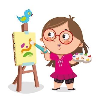 Little painter paints on canvas vector illustration