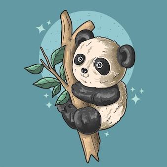 작은 팬더 등반 나무 그런 지 스타일 일러스트 벡터