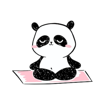 작은 팬더 그림. 요가 매트에 명상 귀여운 손으로 그린 팬더 캐릭터.