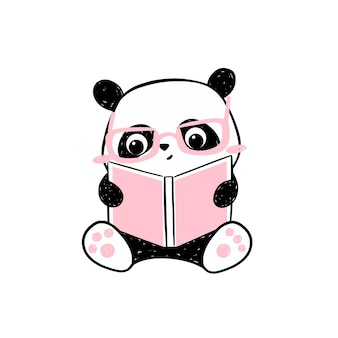 Little panda illustration. cute hand-drawn panda character  in pink glasses reading a book.