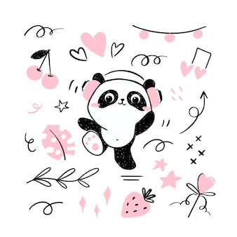 Little panda illustration listening to music in headsets and dancing.