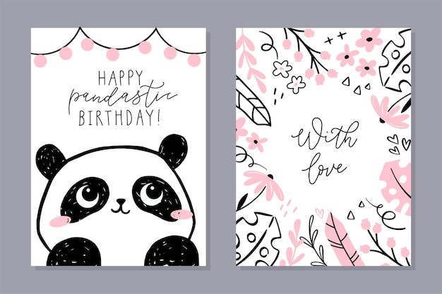 Little panda set of cards. cute panda character, floral frame with hand-lettered phrase.