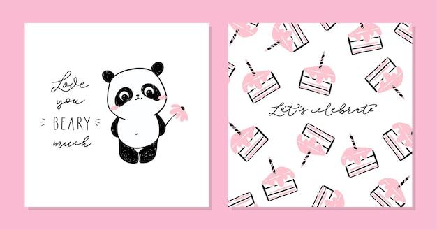 Маленькая панда набор карточек. симпатичный персонаж панды и текст - очень люблю тебя.