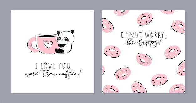 Маленькая панда набор карточек. симпатичный персонаж панды, обнимающий гигантскую чашку и текст - я люблю тебя больше, чем кофе. Premium векторы