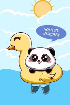 Little panda swimming in summer holiday cartoon illustration