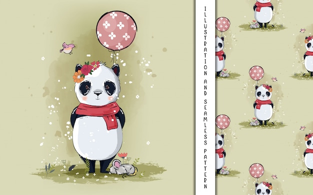 Little panda with balloons illustration for kids