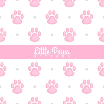 Little paws watercolor seamless pattern