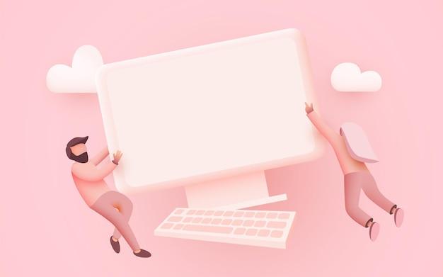 작은 사람들이 공동 작업 데스크톱 컴퓨터를위한 컴퓨터 작업 공간 컨셉 디자인 주위를 날아 다닙니다.