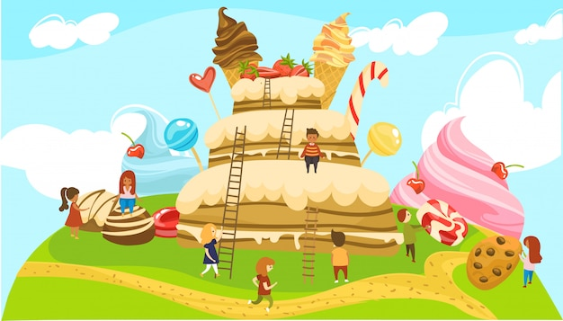 Little people in land of sweets fairytale world, boys and girls on ladders to huge cake with icecream cones  illustration.