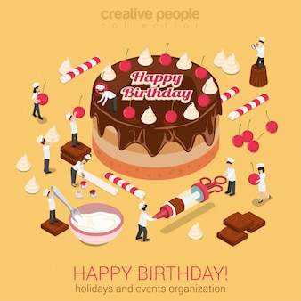 Little people make cake with inscription happy birthday isometric vector illustration. holidays events organization or confectioner business concept.