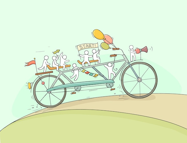 Little people ride on bicycle.