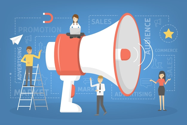 Little people standing around a giant megaphone. making special promotion with loudspeaker. speaker make announcement. getting customer attention.