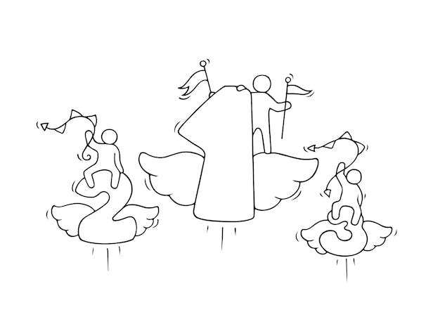 Маленькие человечки с летающими числами, милая миниатюрная сцена рабочих про соревнование.
