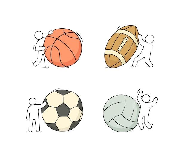 スポーツ用品を持っている小さな人