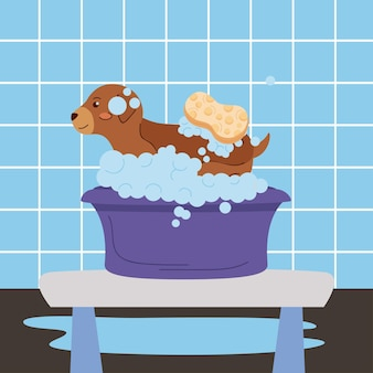 Маленькое домашнее животное купается в фиолетовой ванне