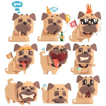 絵文字の表情と活動の漫画イラストの襟のコレクションを持つ小さなペットパグ犬子犬