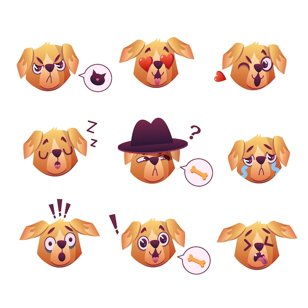 Free Little Pet Pug Dog Puppy With Collar Collection Of Emoji Facial