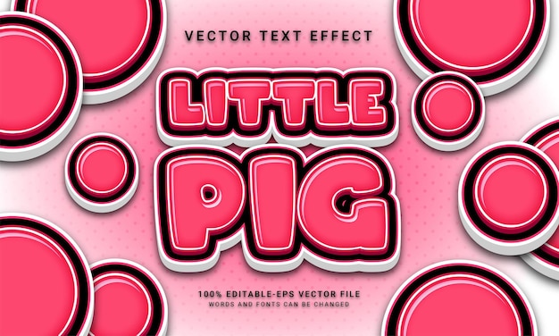 Little pig editable text effect with cute pink color theme