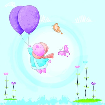 Little pig flying with a balloon