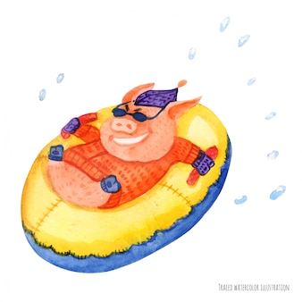 The little pig on the inflatable sleigh