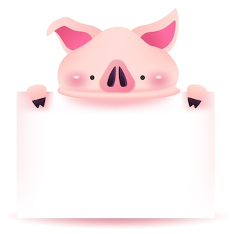 Little pig with blank signboard.