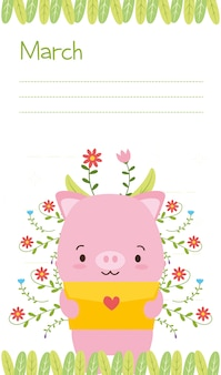 Little pig with love letter, cute animal calendar, illustration