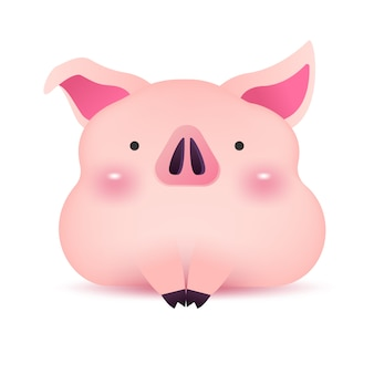 Little piggy greeting character for chinese new year.