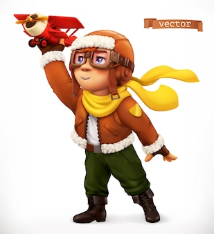 Little pilot with toy airplane. comic character, 3d  illustration