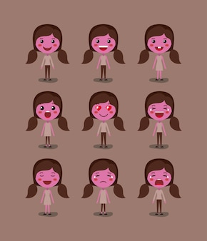 Little pink girls emoticon set kawaii characters
