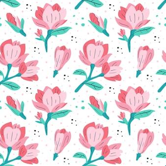 小さなピンクのマグノリア。フラット漫画カラフルな手描きのシームレスパターン