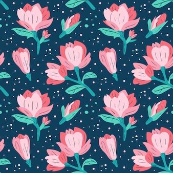 小さなピンクのマグノリア。花、植物のデザイン要素。野生生物、自然、花が咲く、植物。フラット漫画カラフルな手描きのシームレスパターン