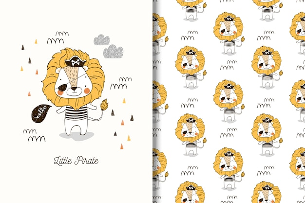 Little pirate lion illustration and seamless pattern for boys