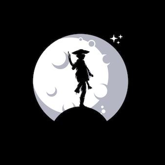 Маленький пират на луне иллюстрации