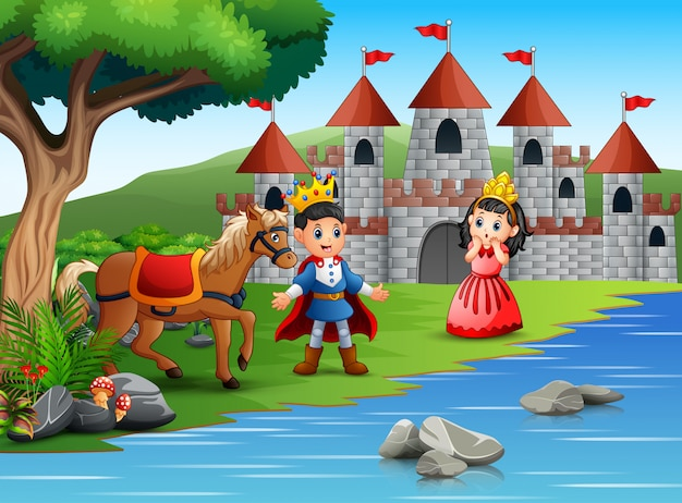 The little prince and princess in a beautiful landscape