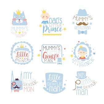 Little prince set of prints for infant boy room or clothing design templates in pink and blue color