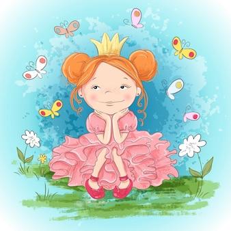 Маленькая принцесса и бабочки. рука рисунок векторная иллюстрация