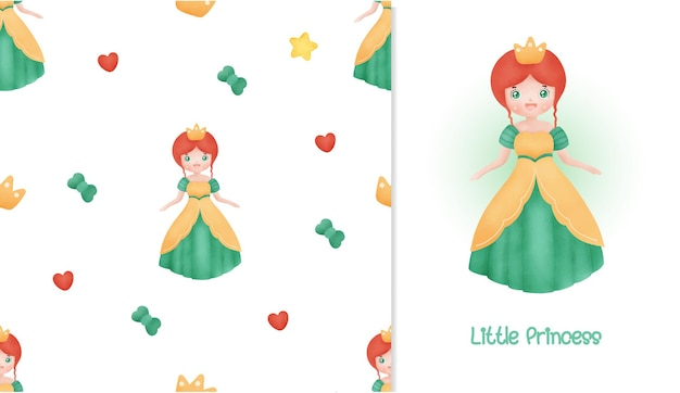 Little princess card and seamless pattern