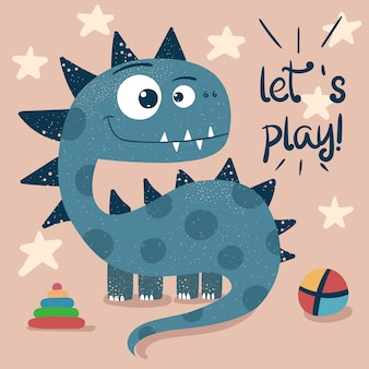 Little princess, cute dino - funny illustration.