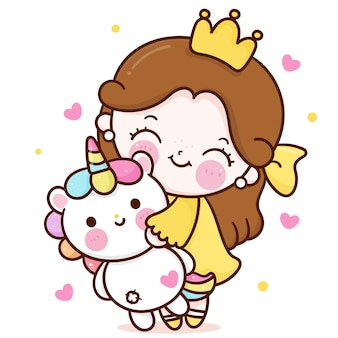 Little princess fairy hug cartoon unicorn doll cute friend kawaii character