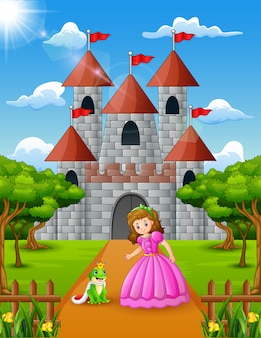 Little princess and frog prince standing in front of the castle