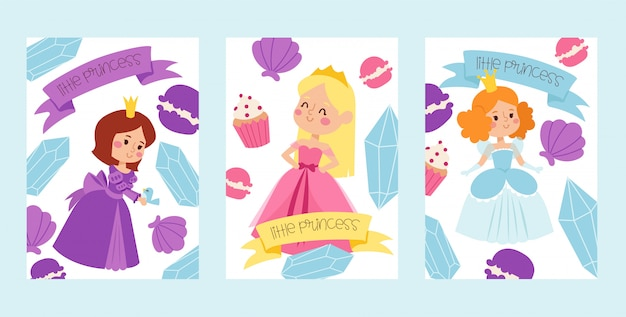Little princess girls in evening gowns banner illustration.