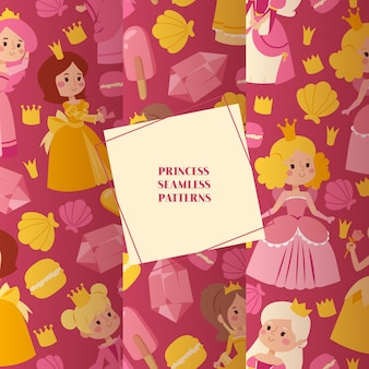 Little princess girls in evening gowns set of seamless patterns
