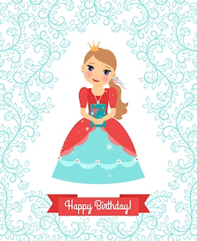 Little princess. happy birthday   greeting card with cute floral frame and ribbon