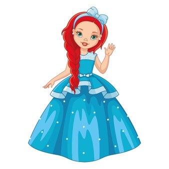 Маленькая принцесса в синем платье, векторные иллюстрации шаржа