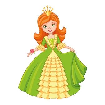Маленькая принцесса в зеленом платье, векторные иллюстрации шаржа